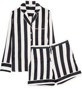 f74b913f3b9cbb Iris & Ink Devon Striped Silk-blend Satin Pajama Set