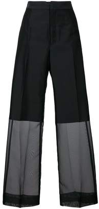 Y's sheer wide leg trousers