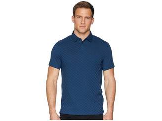 Calvin Klein Short Sleeve Front Printed Johnny Collar Polo with Contrast Back Men's Clothing