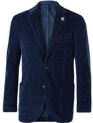 Lardini Navy Slim-Fit Unstructured Stretch-Cotton Corduroy Blazer