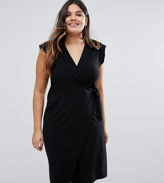 Asos Obi Wrap Pencil Midi Dress