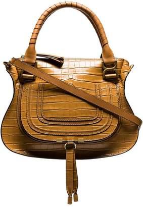 Chloé Brown Croc print embossed leather shoulder bag