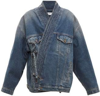 Balenciaga Judo Tie Front Denim Wrap Jacket - Womens - Denim