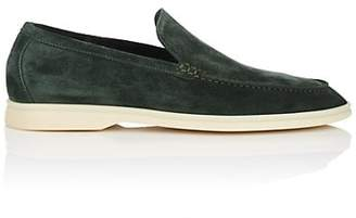 Loro Piana Men's Summer Walk Suede Loafers - Dk. Green
