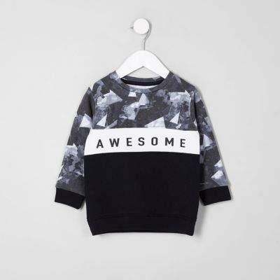 Mini boys navy 'awesome' blocked sweatshirt