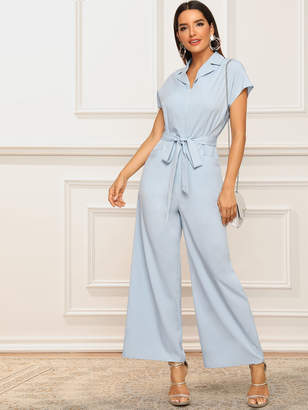 Shein Notch Collar Zipper Front Belted Palazzo Jumpsuit