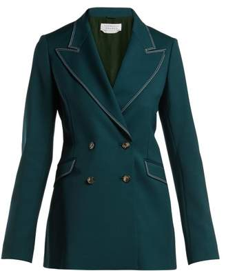 Gabriela Hearst Angela Double Breasted Wool And Silk Blend Blazer - Womens - Green
