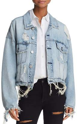 Hudson Oversize Distressed Denim Jacket in High and Dry