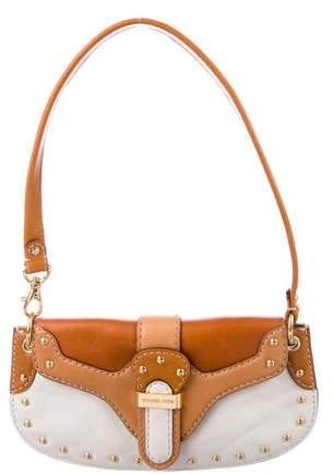 Michael Kors Bicolor Studded Leather Shoulder Bag - BROWN - STYLE