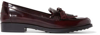 Tod's Fringed Glossed-leather Loafers - Burgundy