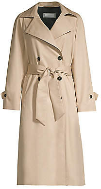 Peserico Women's Double Breasted Khaki Trench Coat