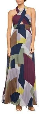 BCBGMAXAZRIA Pleated Colourblock Halter A-Line Gown