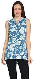 Denim & Co. Floral Print Sleeveless Tank withHi-Low Hem