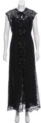 Oscar de la Renta Bow-Accented Evening Dress