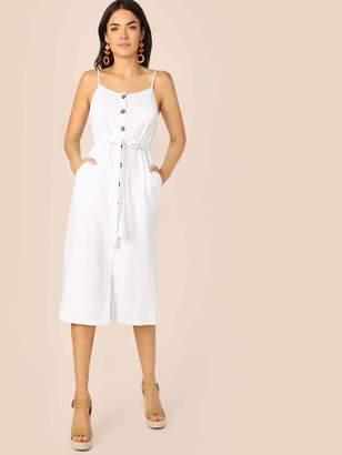 Shein Pocket Side Button Up Self Belted Cami Dress
