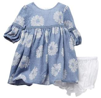 Pippa Pastourelle by and Julie Long Sleeve Floral Print Dress Set (Baby Girls12-24M)