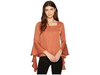 J.o.a. Ruffle Sleeve Top Women's Long Sleeve Pullover