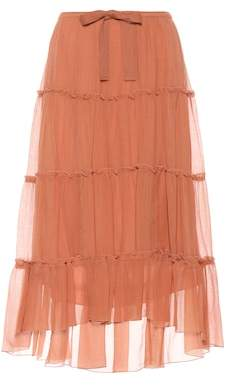 See by Chloe Tiered cotton and silk skirt