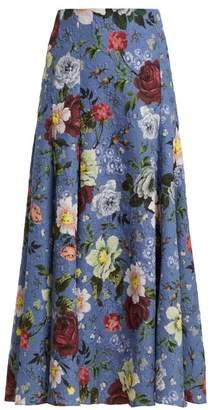 Erdem Vesper Getrude Print Floral Midi Skirt - Womens - Blue Multi