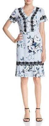 Karl Lagerfeld Paris Lace-Trimmed Floral Dress