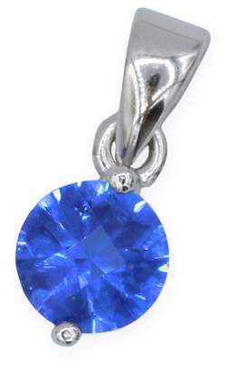 Marquis Jewelry Womens 925 Sterling Silver CZ RH Solitaire Blue 6mm Pendant 6