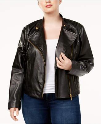 Michael Kors Plus Size Leather Moto Jacket