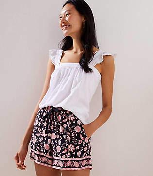 LOFT Border Floral Fluid Drawstring Shorts with 4 Inch Inseam