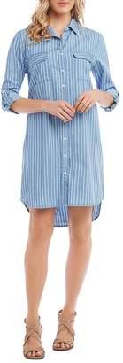 Karen Kane Striped Chambray Button-Down Shirt Dress