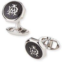 Dunhill Octagonal AD Cuff Links, Silver/Black