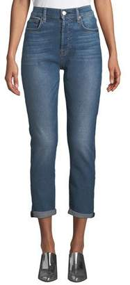7 For All Mankind Josefina High-Waist Boyfriend Jeans with Rolled Hem
