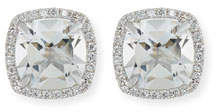 Frederic Sage 18K White Gold White Topaz Diamond Halo Stud Earrings