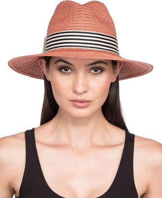 Eugenia Kim Courtney Packable Hemp Fedora Hat w/ Wide Striped Band