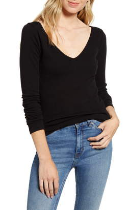 Stateside Ribbed V-Neck Long Sleeve Tee