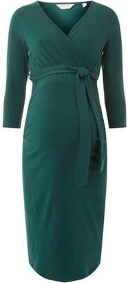 Dorothy Perkins Womens **Maternity Green Pine Ruched Wrap Dress