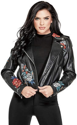 GUESS (ゲス) - ゲス GUESS EMBROIDERED FAUX-LEATHER MOTO JACKET