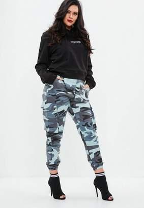 Missguided Curve Blue Camo Combat Pants