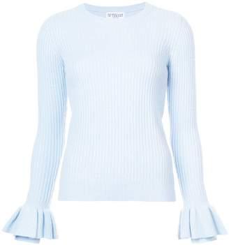 Derek Lam 10 Crosby Crewneck Sweater With Ruffle Sleeves