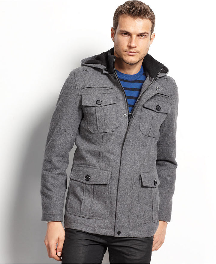 GUESS Coats, Military Style Hooded Pea Coat