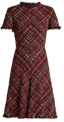 Alexander McQueen Short Sleeved Tweed Dress - Womens - Red Multi