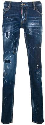 DSQUARED2 distressed splatter-print jeans