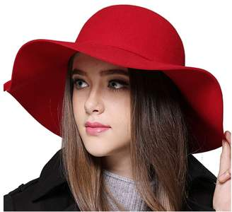 Yimidear Women Fashion Vintage Wool Floppy Wide Brim Hat Jazz Hat Large Brimmed Hat Dome Foldable