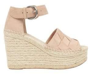 Marc Fisher Adalla Basketweave Suede Platform Wedge Sandals