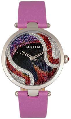 Bertha Quartz Trisha Collection Lilac Leather Watch 39Mm