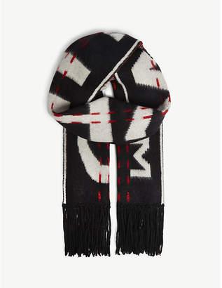 Off-White Logo-intarsia wool-blend scarf