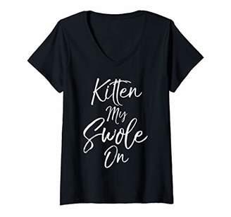 Womens Funny Cat Workout Pun Gift for Women Kitten My Swole On V-Neck T-Shirt