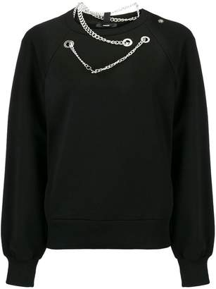 Diesel silver eyelet and chain sweatshirt
