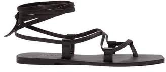 A.Emery A.emery - Finnley Ankle Tie Leather Sandals - Womens - Black