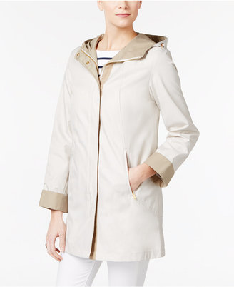 Jones New York Two-Tone Hooded Raincoat $150 thestylecure.com