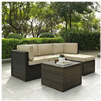Crosley Furniture Palm Harbor 5-Piece Wicker Patio Sofa Set With Sand Cushions