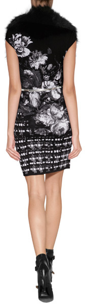 Roberto Cavalli Intarsia Knit Dress in White/Black